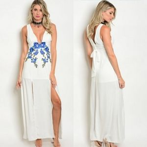 Sheer floral white maxi dress